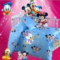 Promoción! 3 unids Mickey Mouse del algodón cortina cuna establece cama de bebé, funda nórdica / hojas / funda de almohada