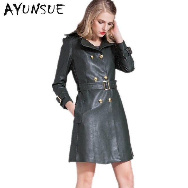 2018 Brand Jacket 100 Genuine Leather Coat Womens New Dark Green