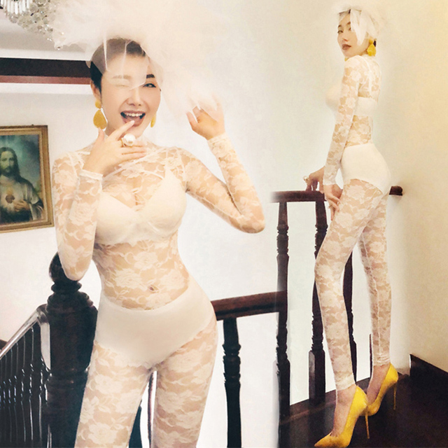 Jazz Costume White Lace Jumpsuit Sexy Performance Stage Clothes For Singers Dj Ds Outfit Women Nightclub Pole Dance Wear DN2542