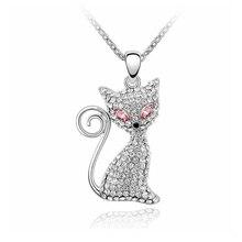 3a4d37d399924f A forma di gatto Ciondolo Collana di Cristallo da Swarovski Moda Carino per  il Compleanno Anniversario di Fidanzamento Regalo