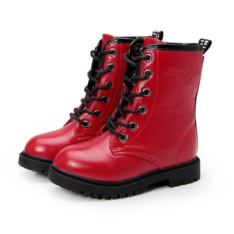 الأطفال أحذية 2017 خريف شتاء جديد الفتيان أحذية الفتيات مارتن الأحذية الدافئة للماء بو الجلود لينة plushed الاطفال الثلوج الأحذية