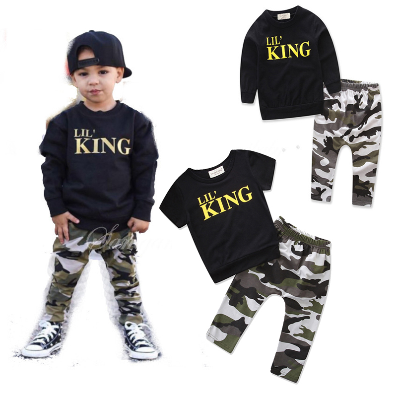 toddler boys clothing set Letter long sleeve T shirt Tops+Camouflage Pants Autumn Winter Children Kids Outfits Clothes Sets 1