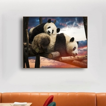 Female Panda and Cubs Panda Wall Art Decor Poster Print Canvas Painting Calligraphy Decor Picture for Living Room Home Decor недорго, оригинальная цена