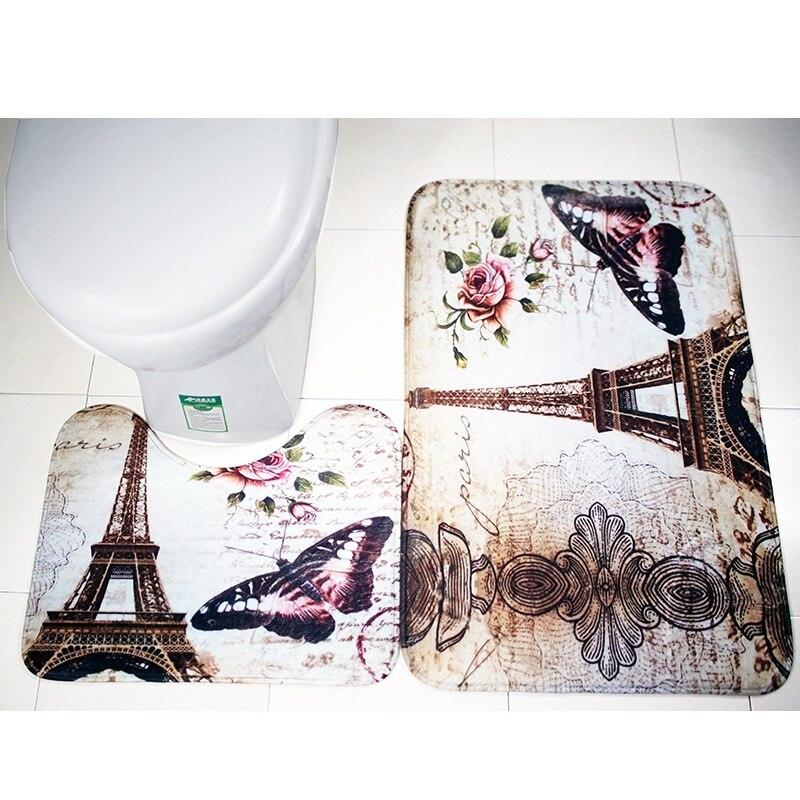Soft Paris Eiffel Tower Bathroom Toilet Mat