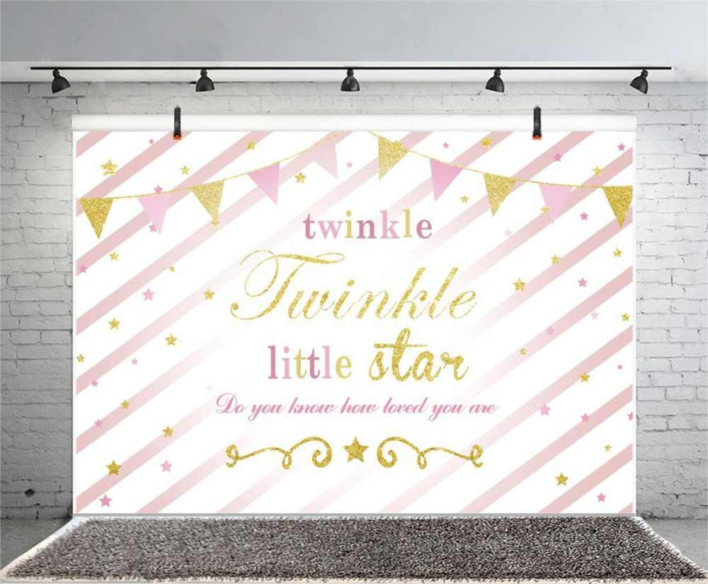 GoEoo Twinkle Little Star Backdrop 10x8ft Vinyl Photography Background Loved Sweet Girls Baby Photo Background Flags Stars Stripes Backdrops Party Decoration