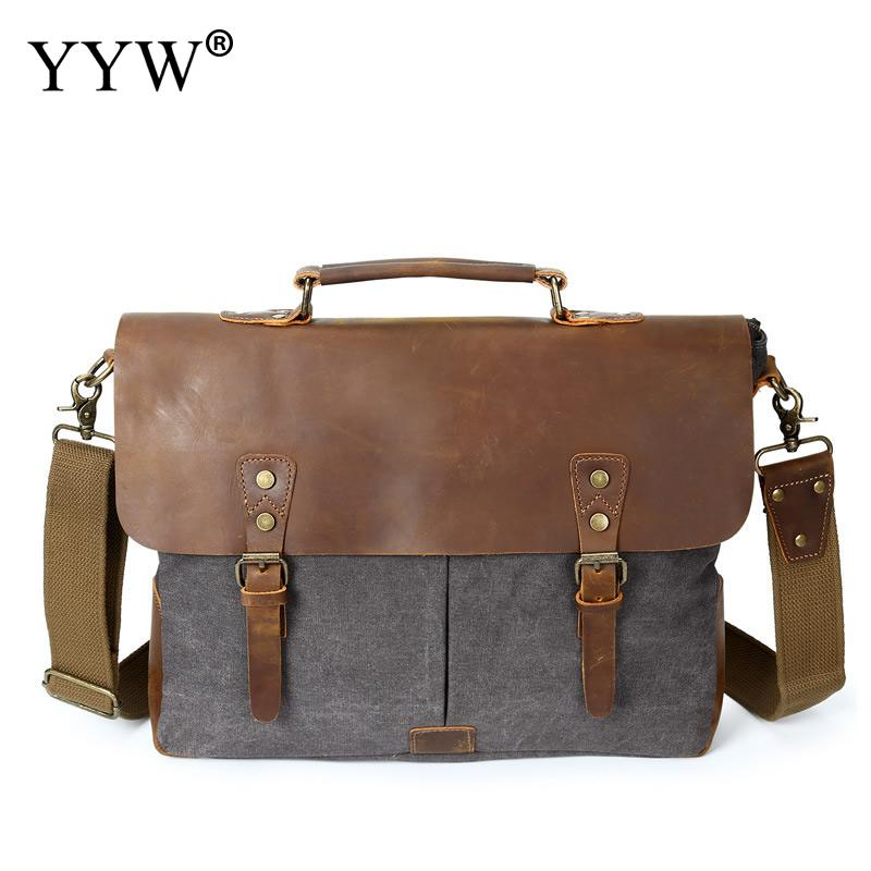Men's Executive Briefcase Vintage Male Bag Gray Tote Bags for Men Brown Canvas Handbag A Case for Documents Man's Shoulder Bag aosbos fashion portable insulated canvas lunch bag thermal food picnic lunch bags for women kids men cooler lunch box bag tote