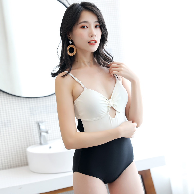 1 Piece Swimsuit Women Print Bathing Panties For Swimwear With Push Up Woman Top Sexy Back Designed By Korean Stitching Ladies