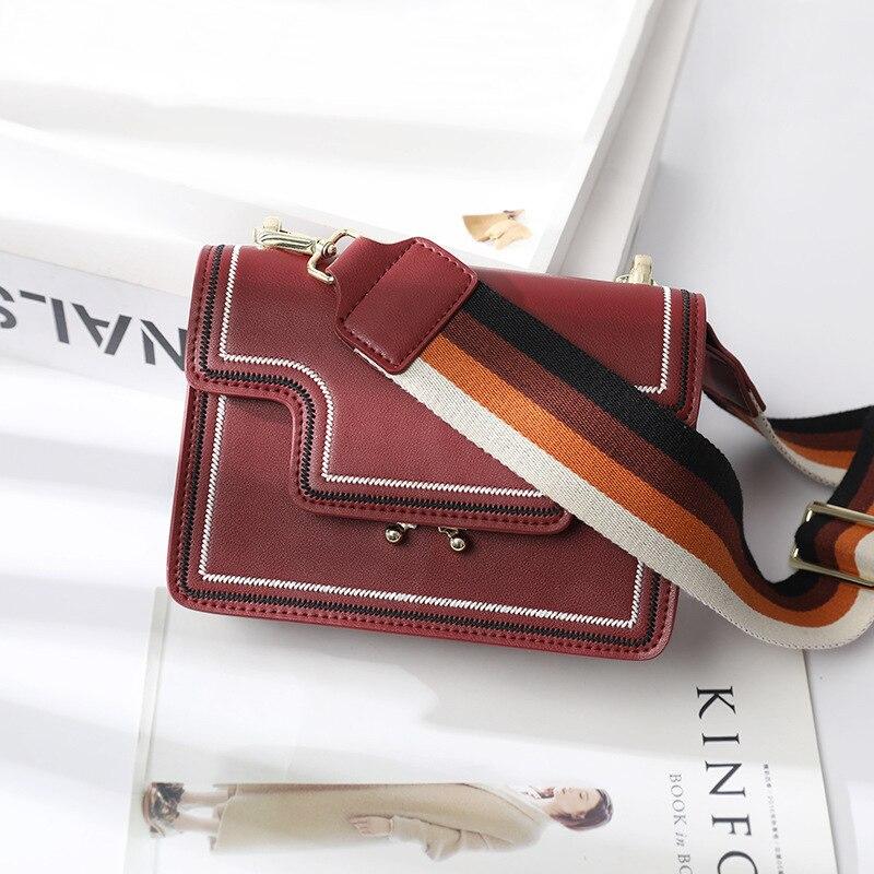 2019 New Texture Bag Chic Wide Shoulder Belt True Leather Baitao Small Square Bag Single Shoulder Bag Slanting Bag