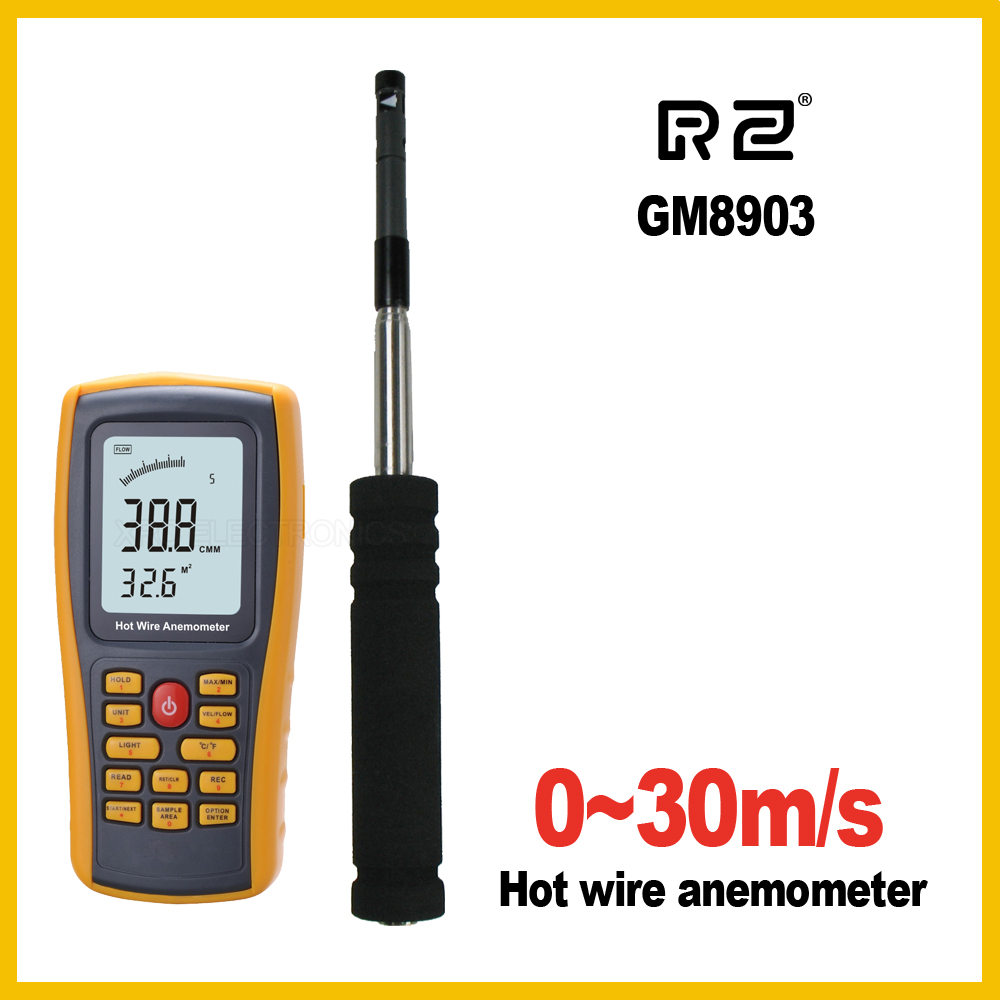 RZ GM8903 Anemometer Wind Speed GaugeTemperature Measurement USB Interface Tool Measuring Instrument
