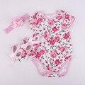 Новорожденных девочек одежда лето младенческой новорожденных одежда для новорожденных девочек печати Леопарда с коротким рукавом ползунки + повязка + обувь 3 шт. костюм bebes