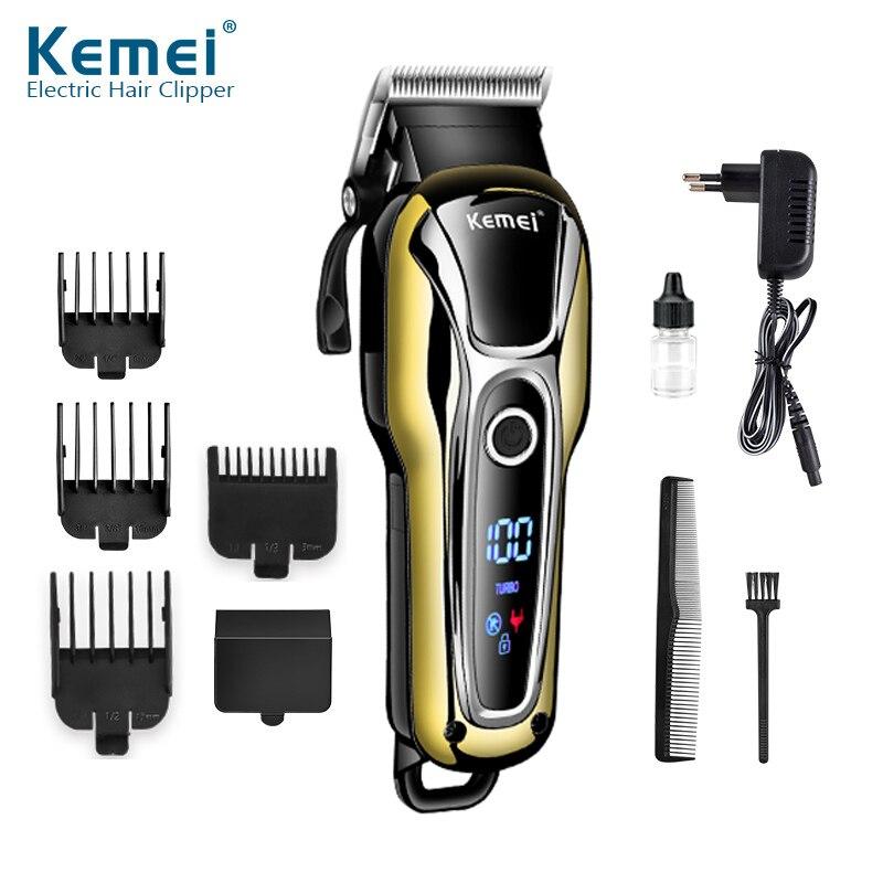 KEMEI Waterproof LCD Display Electric Shaver 4 Blade Reciprocating Razors Original Beard Shaving Machine Travel Bag