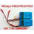 2 peças/lote 20C 7.4 V 1000 mAh bateria para WLtoys V912 / WLtoys V262 / WLtoys V353 bateria WLtoys V333 bateria frete grátis