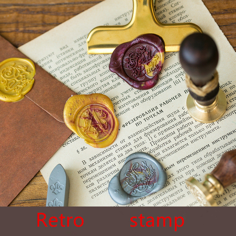 1x Wax Seal Stamp Retro Wood Classic Decorative Thank You Letter Invitation Antique Sealing Stamp Valentine