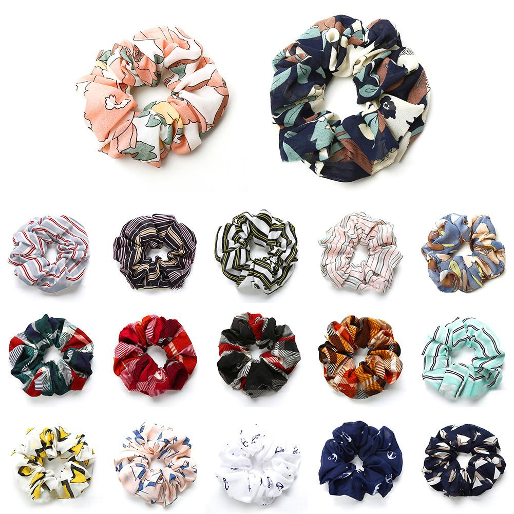 Hair Scrunchies Floral striped plaid Flamingo Houndstooth Design Women Hair Accesorios Tie Scrunchie Ponytail Hair Holder Rope