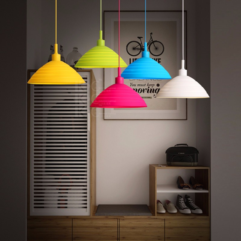 Foldable Colorful Silicone Ceiling Light Lamp holder DIY Lighting Lamps For Cafe Bar Store Hall Club Coffee Shop Decor 32cm vintage iron pendant light metal edison 3 light lighting fixture droplight cafe bar coffee shop hall store club