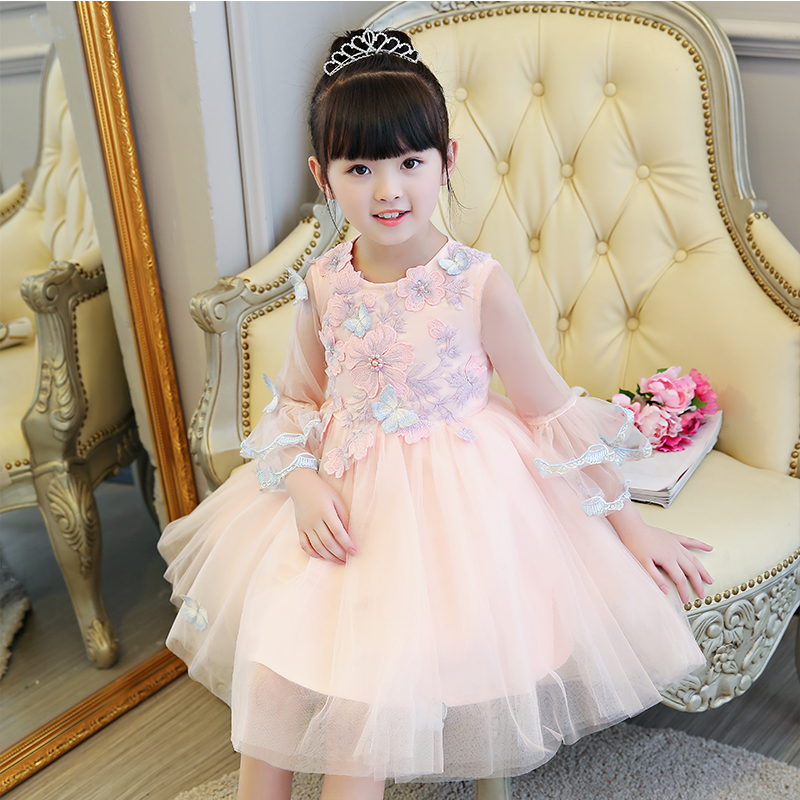 New Luxury Embroidery Appliques Flowers Kids Girls Sweet Wedding Birthday Dress Ball Gown Sweet Girl Pageant Pink Flowers Dress борис васильев васильев б с с в 7 томах