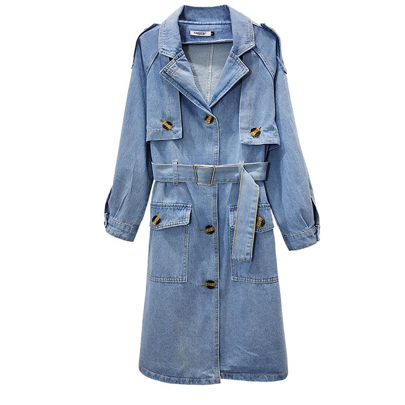Long Cowboy   Jacket   Plus Size Denim   Jacket   Women Cotton   Jackets   Windbreaker Coat Fashion Coats 2019 Women Outerwear   Basic     Jacket