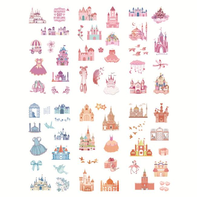 6 Pcs/pack Dream Castle Bullet Journal Decorative Stationery Stickers Scrapbooking DIY Diary Album Stick