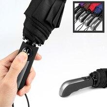 Бесплатная доставка ветра складной Автоматический Зонт мужской Авто люкс Большой ветрозащитный Зонты для Для мужчин дождь черное покрытие 10 К