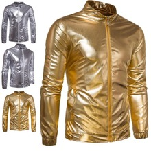 b Night Club Bomber Jacket Men Metallic Shiny Gold Mens Jackets and Coats 2019 New Stage Veste Homme Slim Fit Lightweight Jaquet