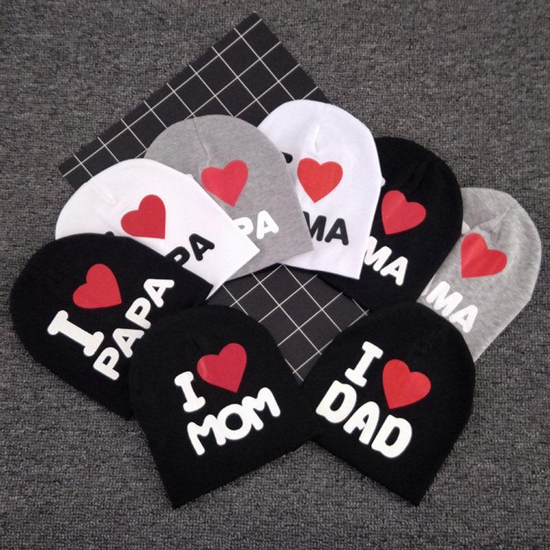 1PC Baby Infant Cotton Beanie Hat I LOVE PAPA / MAMA Cap Cute Letter Print Warm Hat For Newborn Kids Children Kids Beanie Caps