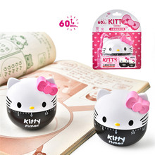 Cute Cartoon Hello Kitty Kitchen Timer Plastic Countdown Dial Mechanical Timer Clock 60 Minutes Cooking Timer Set Time Reminder