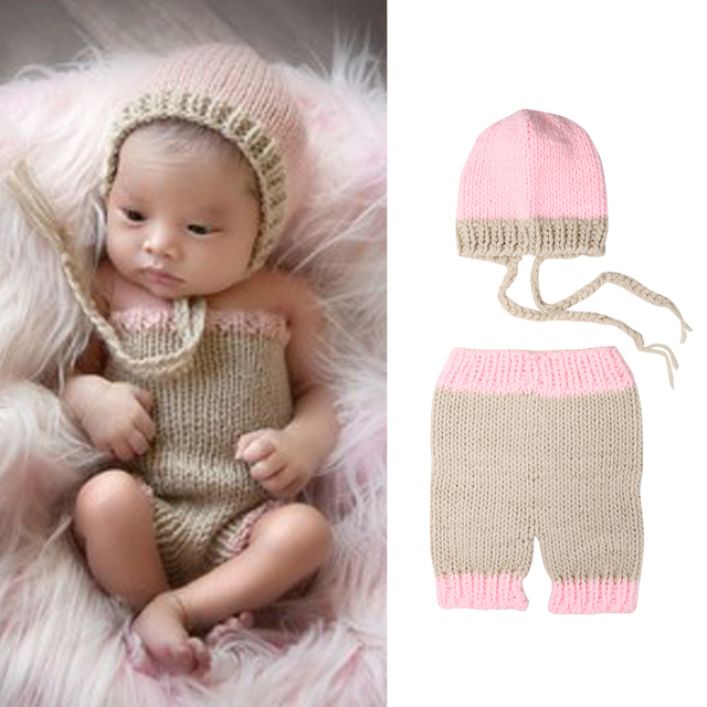 21cf10fbce61d US $6.98 22% OFF Newborn Crochet Outfits Set Baby Photography Props Photo  Knit Pants and Hat Newborn Photography Accessories 0 4 Months-in Clothing  ...