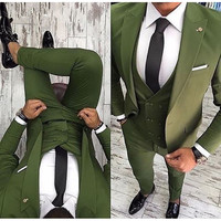 Latest Coat Pant Designs Green Men Suit Slim Fit 3 Piece Suit Tuxedo Wedding Suits For man Custom Prom Party Blazer Terno