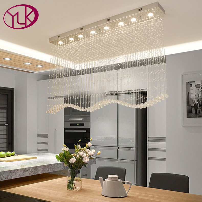 Wave Modern Crystal Lighting Chandelier Long Dining Room LED Lustres De Cristal Dimmable Home Decoration Light Fixture