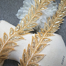 gold sequins rhinestone tassels Wedding dress accessories Beaded Lace Trim fabric applique patches sew on trim for clothing