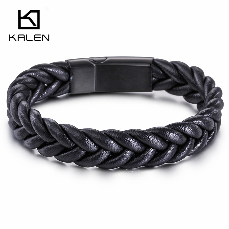 Kalen High Quality Black Twist Braided Leather Bracelet For Men Western American Fashion Jewelry Bracelets Boyfriend Gifts In Wrap From