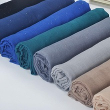 1pc Plain Glitter Scarf Hijabs Balinese Cotton Islam Women Muslim Wrap Shawl Casual Long thin Head Scarf Arab Ethnic Headwear