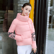 Cotton padded winter printing down female student short female small bread coat jacket