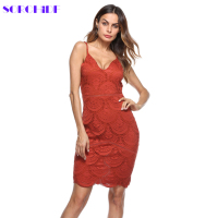 SORCHIDF 2018 New Chic Women Hollow Out Dress Sexy V Neck Backless Spaghetti Strap Celebrity Party
