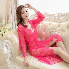 3PCS (Bra+Robe+T String) Summer Sexy Nightwear Lace Home Wear Clothes Nightgowns Sleepwear