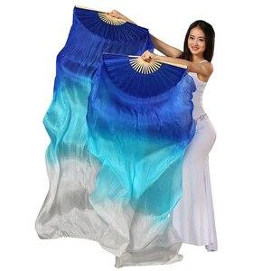 Image 3 - 18 색 무대 공연 속성 댄스 팬 100% 실크 베일 컬러 180cm 여성 밸리 댄스 팬 베일 (2 개)