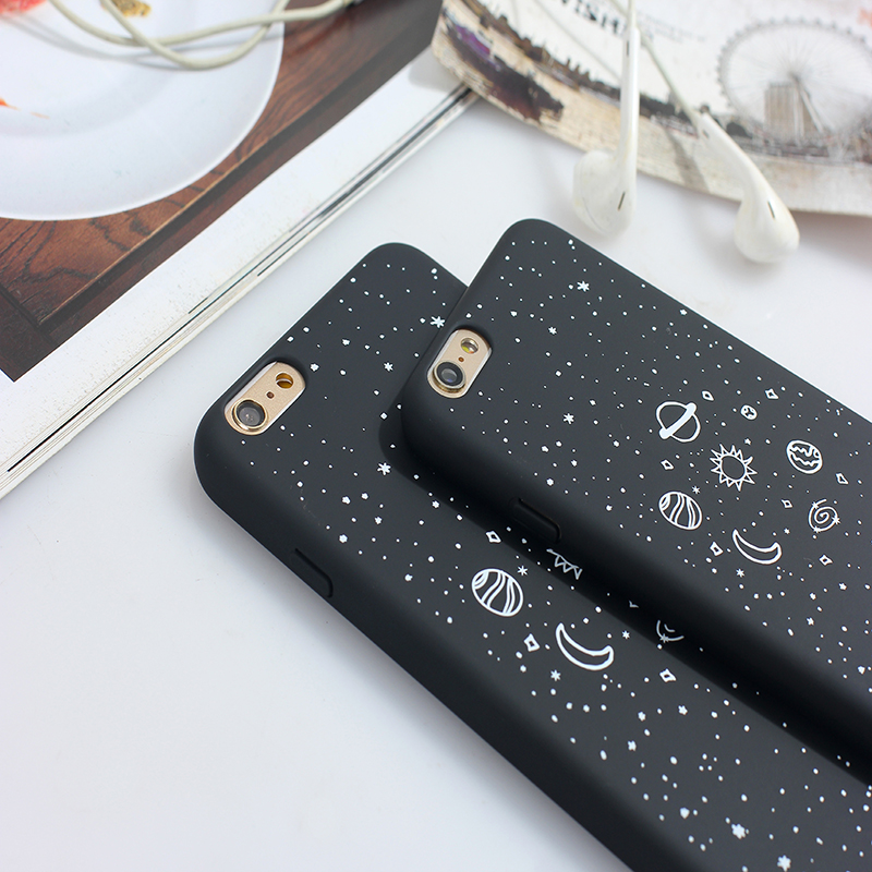 Newest Space Earth Moon Pattern Phone Cases For iphone 7 8 Case For iphone 7plus 8Plus Planet Star Frosted PC hard Back Cover