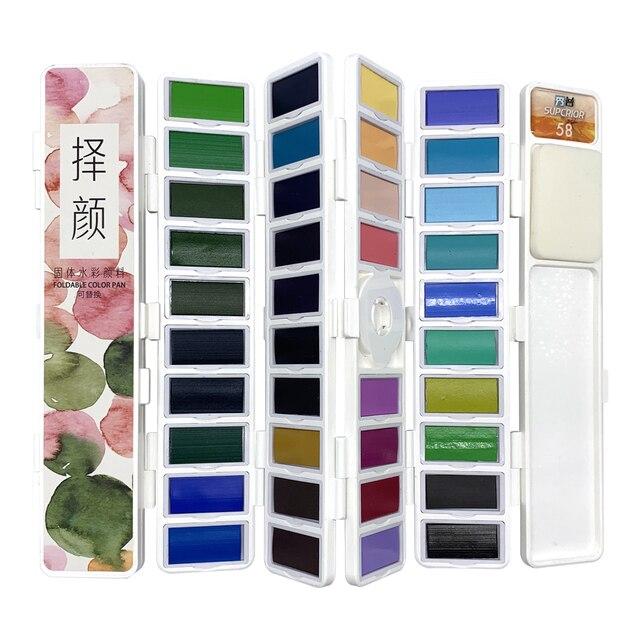 Superiore 18/38/58 Colori Fold Solido Pittura Ad Acquerello Set Con Pennello di Acqua e Articoli da Regalo Casella di Acquerello Pigmento per la pittura di colore di Acqua