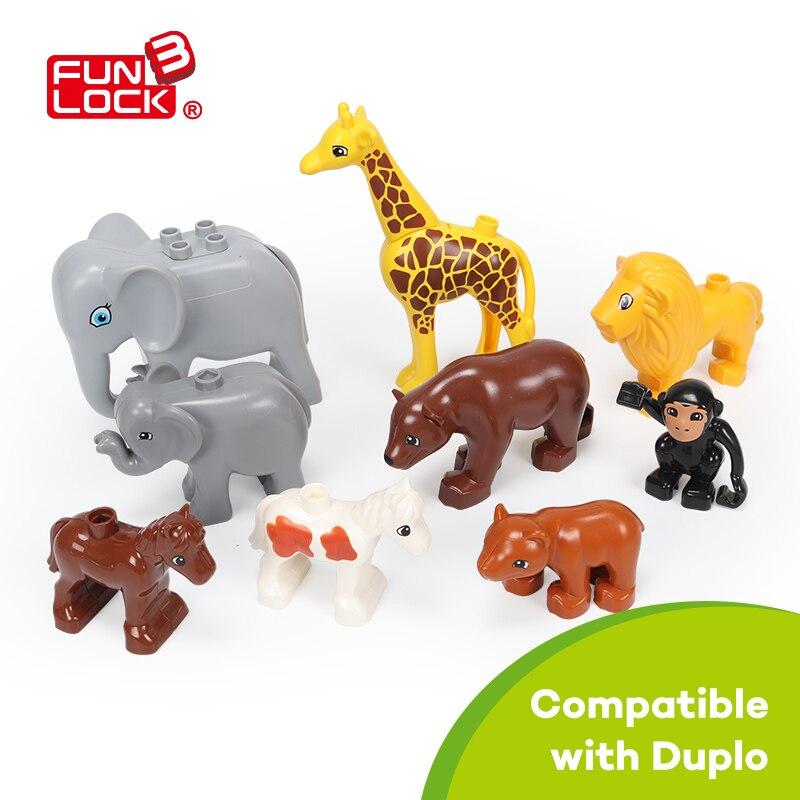 Funlock Duplo Toys 9pcs/Set Jungle Animal Set Duplo Forest Toy For Kid Gift Zoo