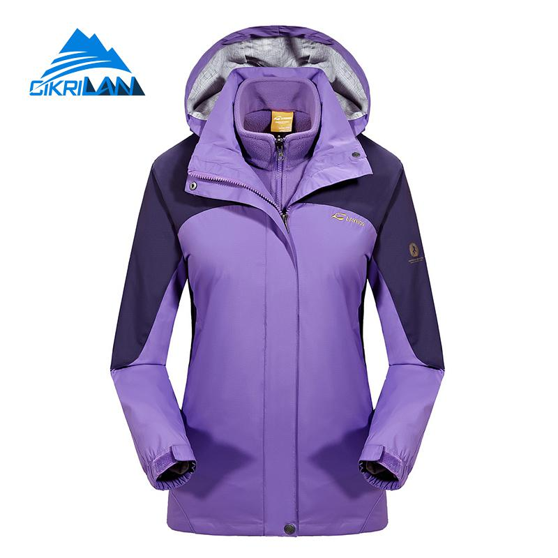 Womens 3in1 Hiking Camping Skiing Fleece Lining Hooded Coat Windbreaker Waterproof Outdoor Jacket Women Climbing Casaco Feminino new mens 3in1 outdoor fleece lining hooded waterproof winter jacket men windbreaker coat ski hiking camping jaqueta masculina
