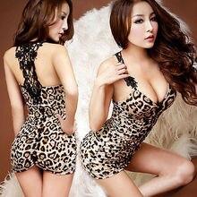 Frauen Sexy Dessous Backless Leopard Kleid Abend Sexy Nachtwäsche Nachthemd Sexy Uniform Kostüm Backless frauen geschenk