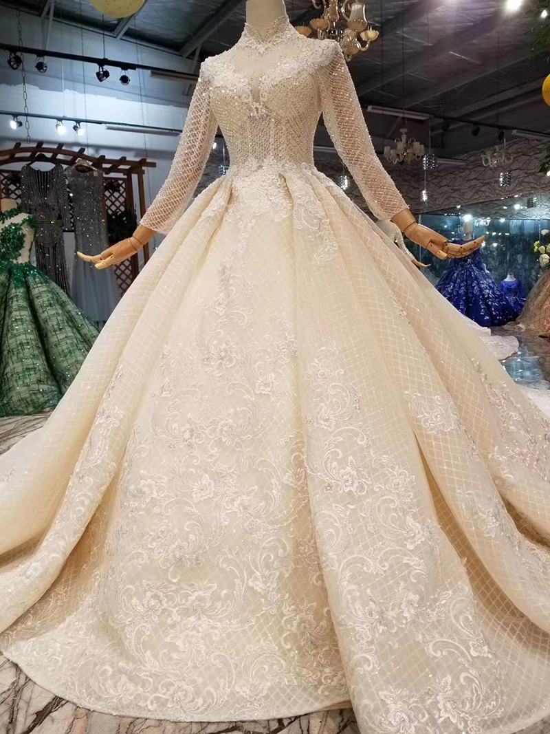 Image 4 - LSS446 long sleeves wedding dresses high neck open keyhole back wedding gowns lace appliques see through bridal wedding dressWedding Dresses   -