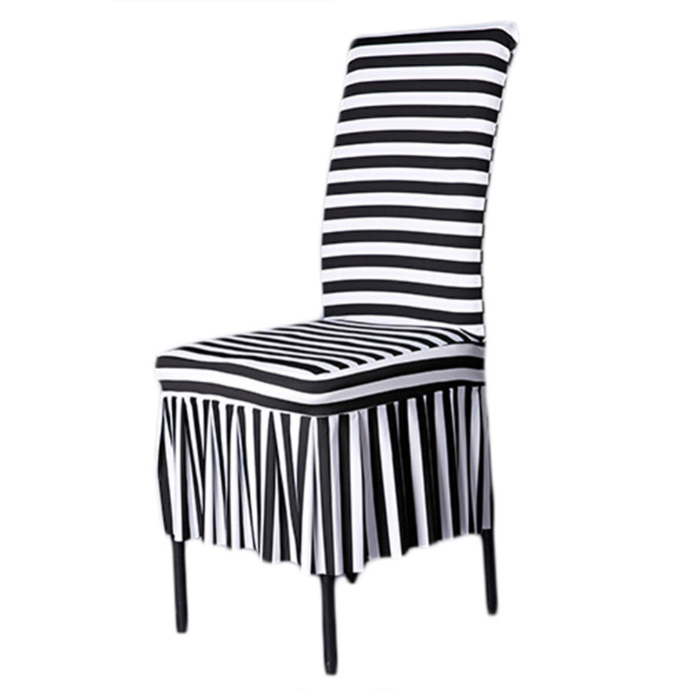 Skirt Hem Black White Stripes Fashion Chair Cover Polyester Spandex Chair  Covers For Home Dining Party Wedding Decor In Chair Cover From Home U0026  Garden On ...