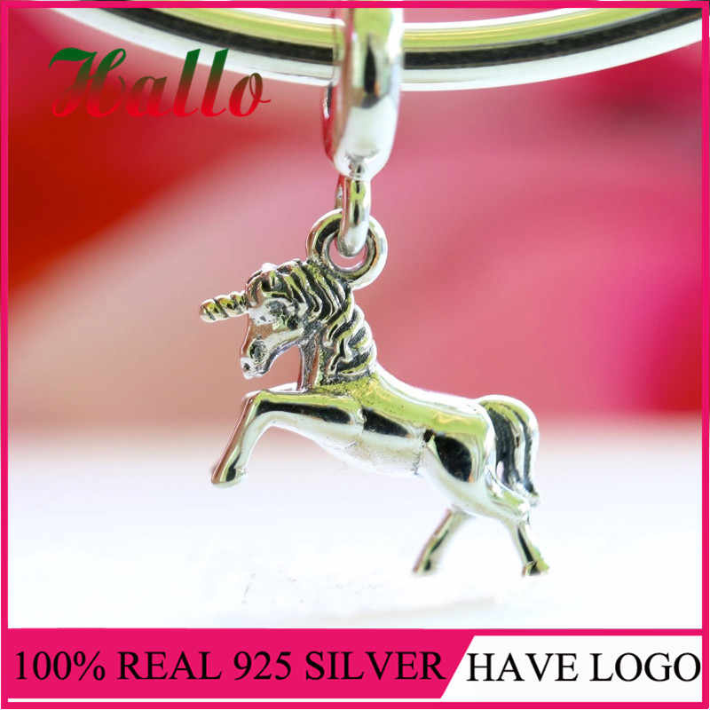 Pure 925 Sterling Silver Sterling Silver Unicorn Charm Bead Fit bracelets bangles charms for jewelry making