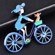 2019 Hot Sale Multicolor Jewelry Enamel Princesses Doll Pins Brooches Alloy Metal Bike Brooch for Women Girl Clothes Accessories