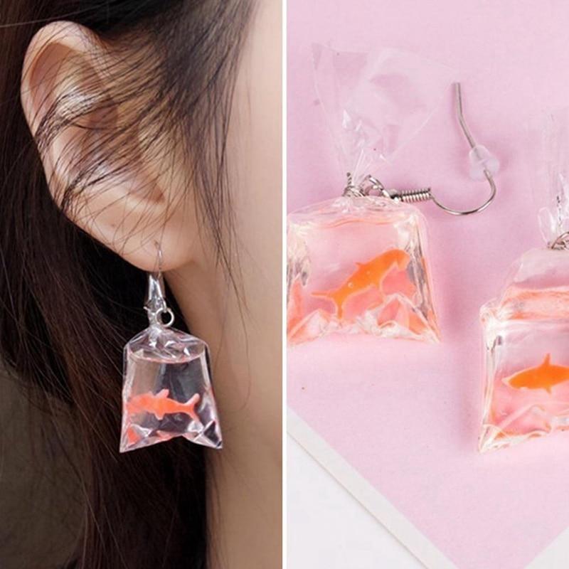 1Pair Kawaii Cartoon Resin Goldfish Imitation Water Bag Shape Charms Earrings Funny Cute Water Pouch Jewelry DIY Handmade