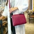 Kajie 2016 Wine Red Stripes Pu Lady Crossbody Bag Female Shoulder Bags Party Purse Clutch Small Sac Women Messenger Bags