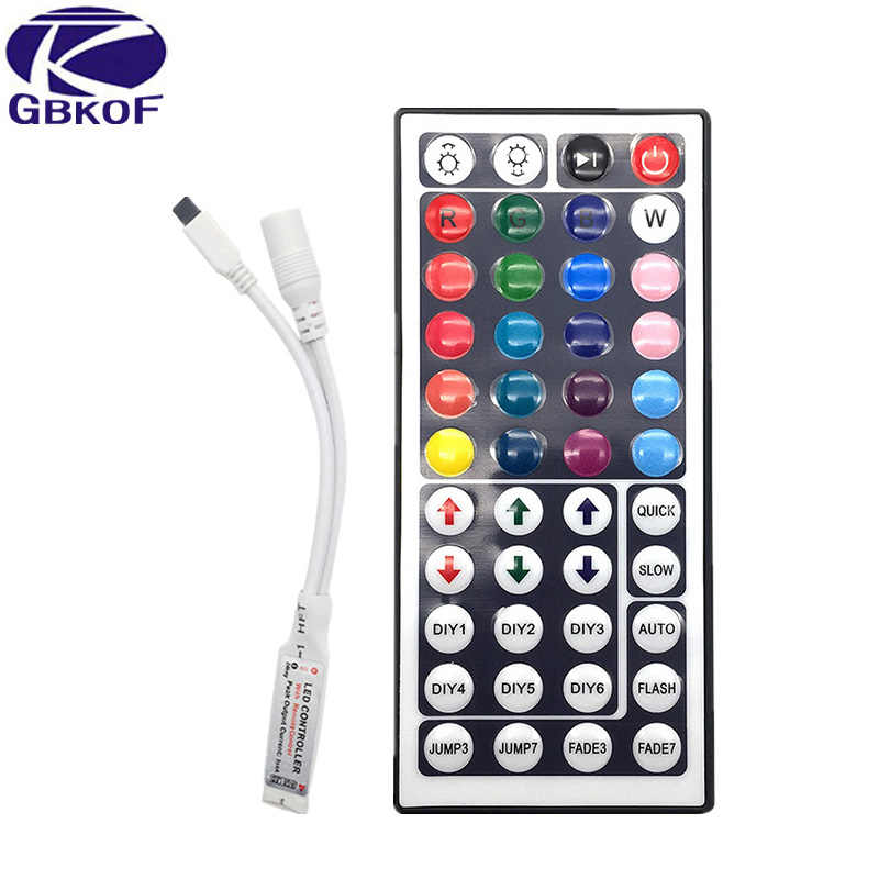 LED Controller 44 Kunci 24 Tombol LED IR RGB Controler Lampu LED Controller IR Remote Dimmer DC12V Kontrol WIFI untuk RGB LED Strip