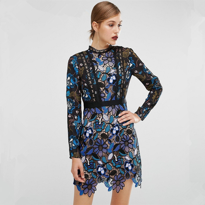 2019 Vintage Women Fashion Blue Lace Runway Party Dresses Long Sleeve Hollow Out Leaf A-Line Knee-length Dress