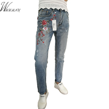 Wmwmnu 2017 new Embroidery with jeans Light Blue Cotton Long Casual  Pants Street Slim  vintage straight jeans women F81